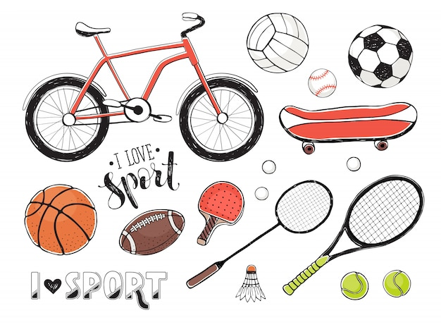 Colección de elementos de equipamiento deportivo