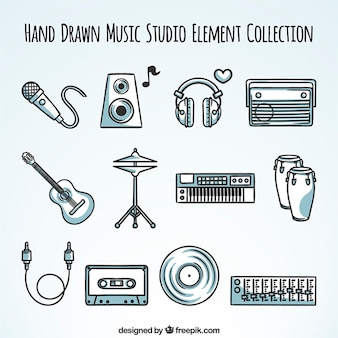 Colección de elementos de equipo de música dibujado a mano