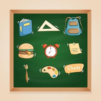 Colección de elementos escolares con estilo doodle