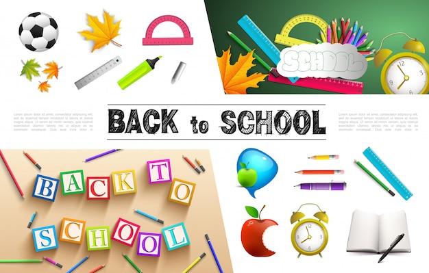 Colección de elementos escolares realistas con balón de fútbol, hojas de arce, reglas, transportador, libro, despertador, bolígrafo de manzana, lápices, cubos con letras