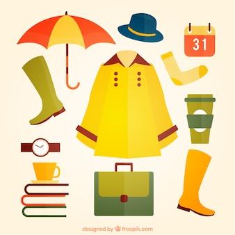 Colección de elementos esenciales de otoño