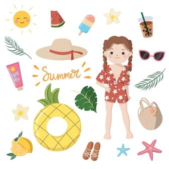 Colección de elementos esenciales de verano para niña. cute dibujos animados coloridos clip art. diseño plano aislado sobre fondo blanco.