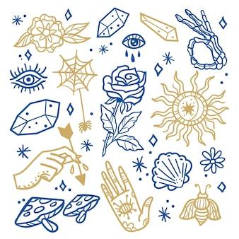 Colección de elementos esotéricos dibujados a mano.
