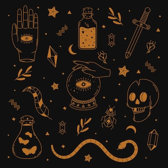 Colección de elementos esotéricos ilustrados.