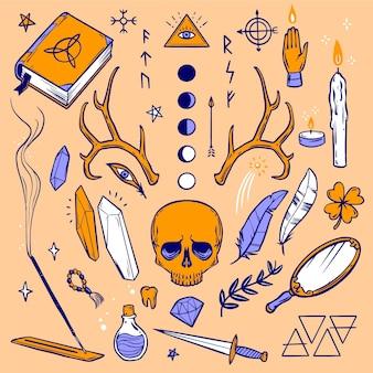 Colección de elementos esotéricos.