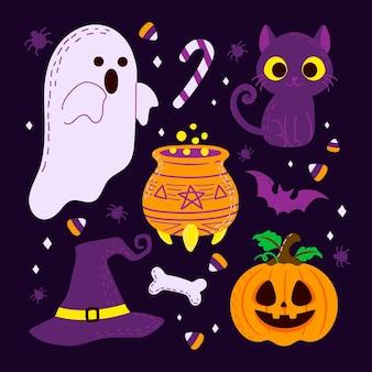 Colección de elementos espeluznantes de halloween dibujados a mano
