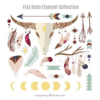 Colección de elementos de estilo boho con diseño plano