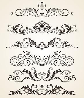 Colección de elementos de estilo vintage florece para el diseño. conjunto de vectores