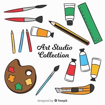 Colección elementos estudio de arte dibujados a mano