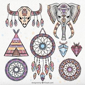 Colección de elementos étnicos decorativos de acuarela