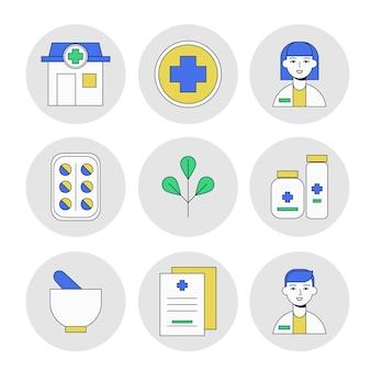 Colección de elementos farmacéuticos ilustrados.