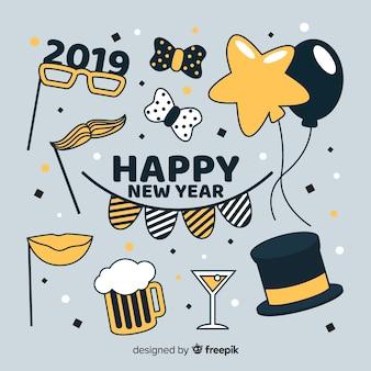 Colección de elementos de fiesta de año nuevo 2019