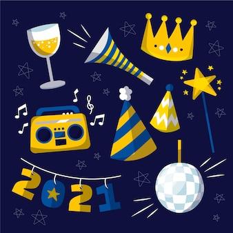 Colección de elementos de fiesta de año nuevo 2021 dibujados a mano