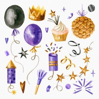 Colección de elementos de fiesta de año nuevo de acuarela