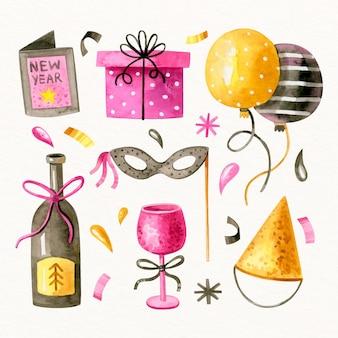 Colección de elementos de fiesta de año nuevo en acuarela