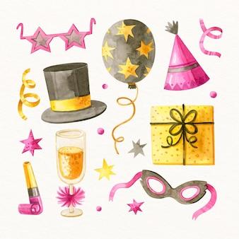 Colección de elementos de fiesta de año nuevo en acuarela vector gratuito