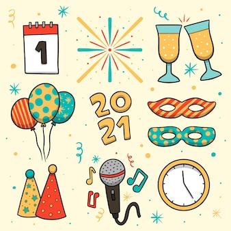 Colección de elementos de fiesta de año nuevo dibujados a mano