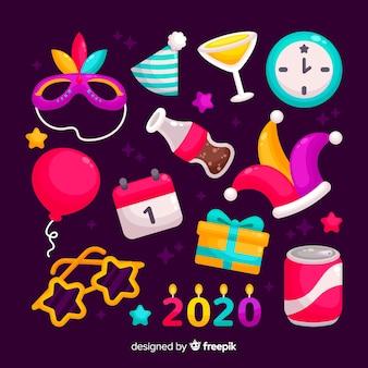 Colección de elementos de fiesta de año nuevo en diseño plano