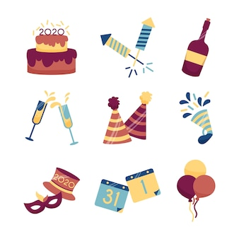 Colección de elementos de fiesta de año nuevo de diseño plano
