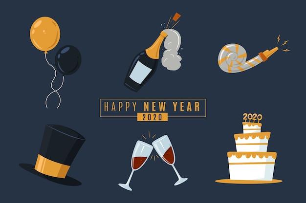 Colección de elementos de fiesta de año nuevo plano sobre fondo oscuro