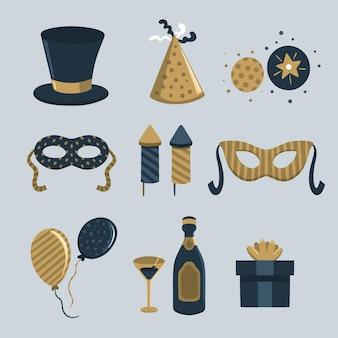 Colección de elementos de fiesta de año nuevo vintage