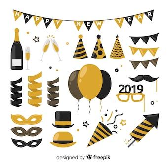 Colección elementos fiesta año nuevo