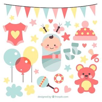 Colección de elementos de fiesta de bienvenida de bebé