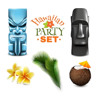 Colección de elementos de fiesta hawaiana