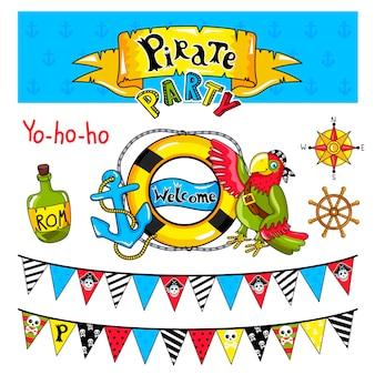 Colección de elementos de fiesta pirata