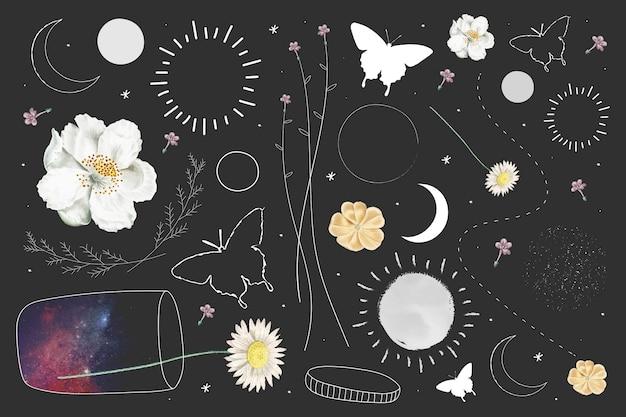 Colección de elementos florales y astronómicos