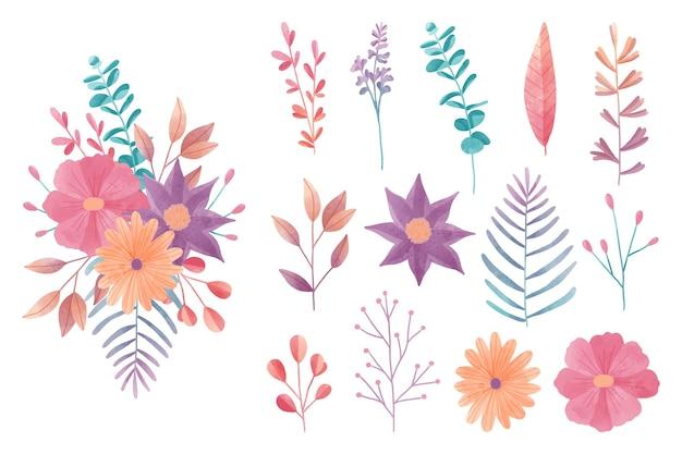 Colección de elementos florales coloridos en acuarela
