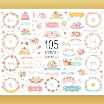 Colección de elementos florales decorativos