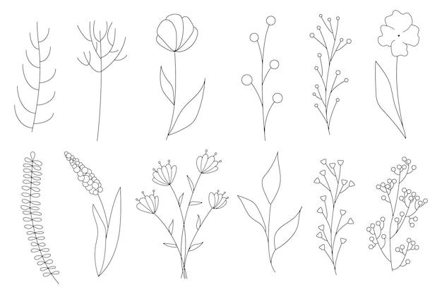 Colección de elementos florales simples minimalistas. boceto gráfico. diseño de tatuaje de moda. flores, pasto y hojas. elementos naturales botánicos. ilustración vectorial. contorno, línea, estilo doodle.