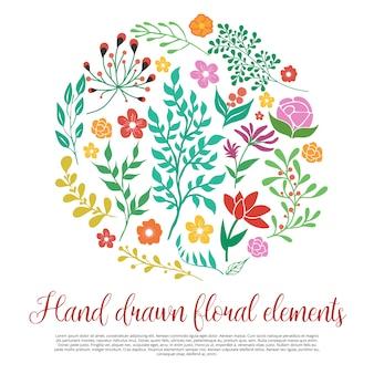 Colección de elementos florales