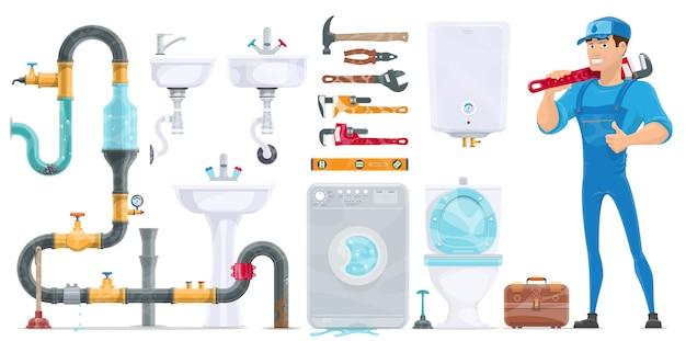 Colección de elementos de fontanería