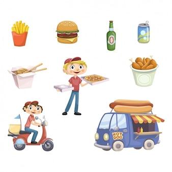Colección de elementos de food truck