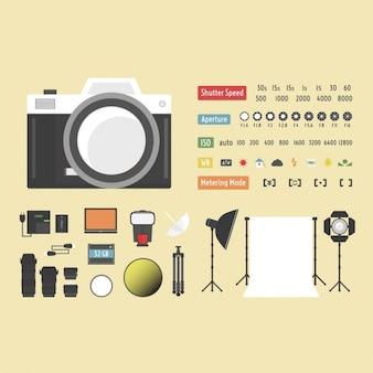 Colección de elementos de fotografía