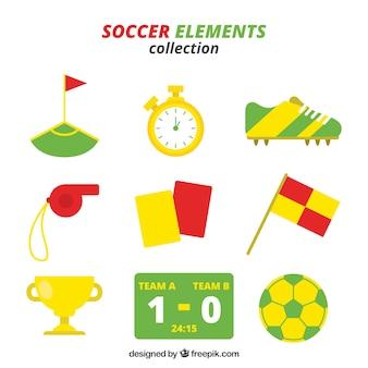 Colección de elementos de fútbol con equipamiento en estilo plano