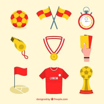 Colección de elementos de fútbol con equipamiento