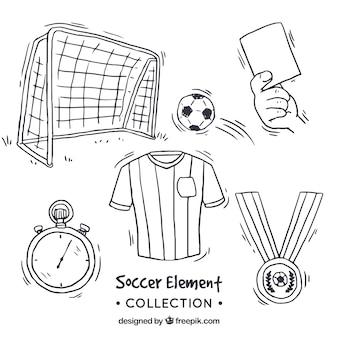 Colección de elementos de fútbol en estilo hecho a mano