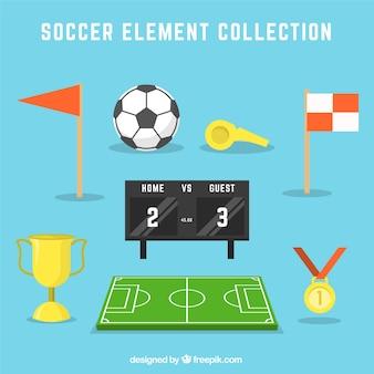 Colección de elementos de fútbol