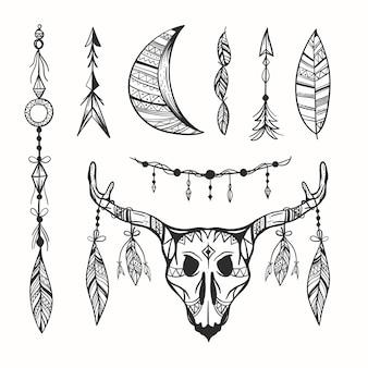 Colección de elementos grabados dibujados a mano boho