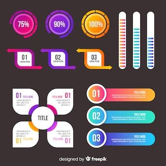 Colección de elementos de gradiente de infografía
