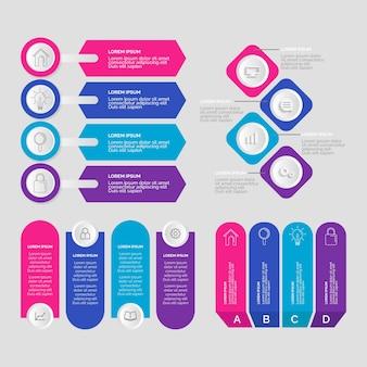 Colección de elementos de gráfico infográfico