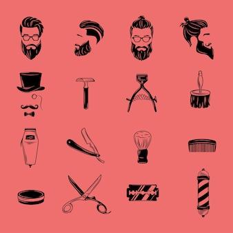 Colección de elementos gráficos para la barbería