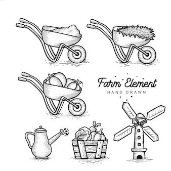 Colección de elementos de la granja dibujados a mano.