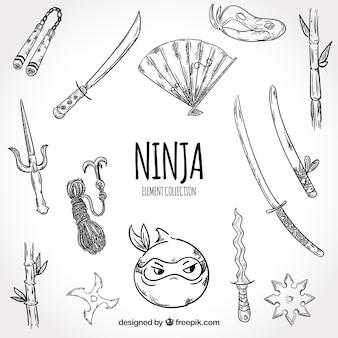 Colección de elementos de guerrero ninja dibujados a mano