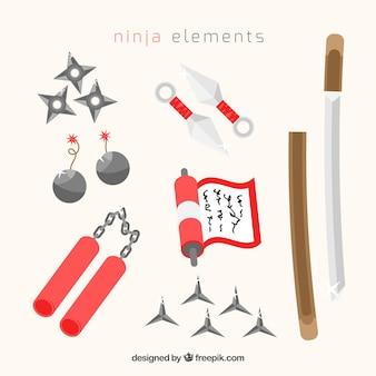 Colección de elementos de guerrero ninja con diseño plano