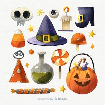 Colección de elementos de halloween en acuarela