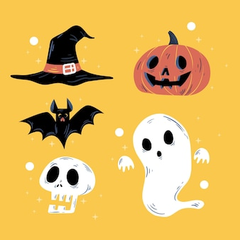 Colección de elementos de halloween dibujada